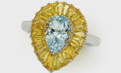 Jarilyn Jewelry 18K white gold ring with aquamarine and yellow sapphires.