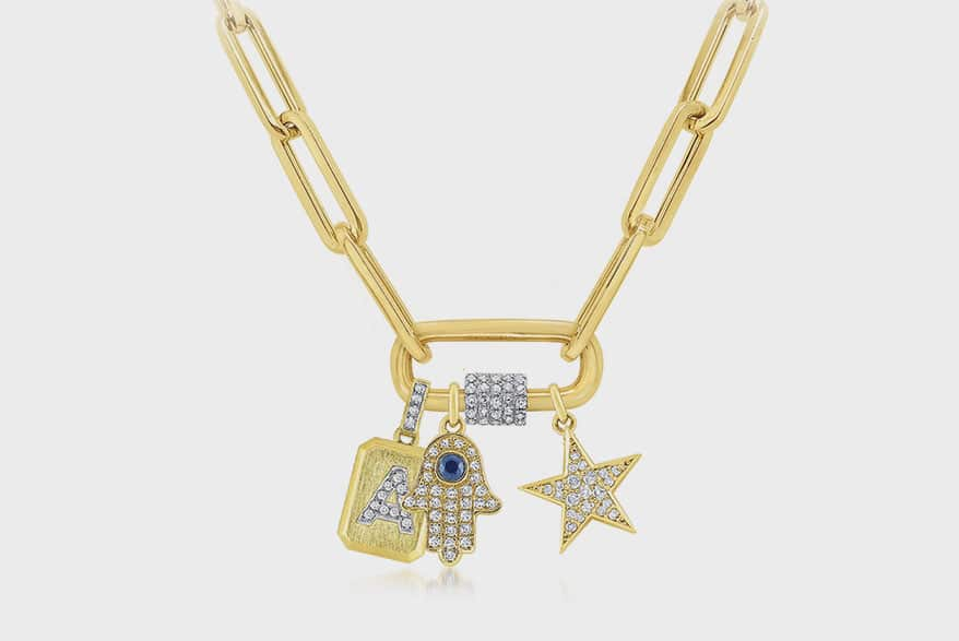 KC Designs gold and diamond charm holder