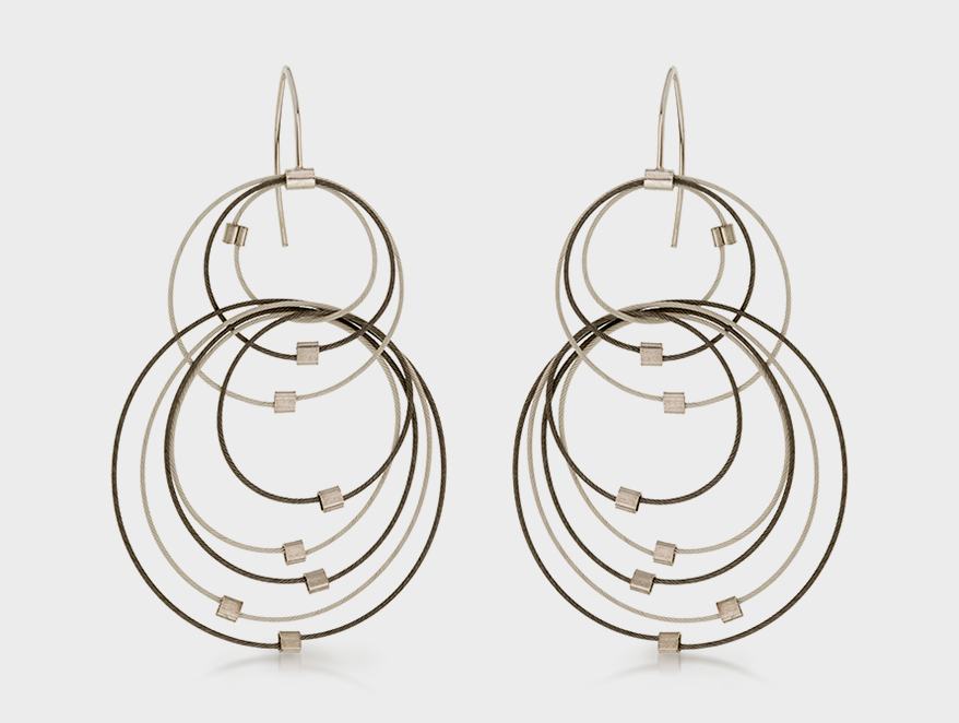Meghan Patrice Riley earrings with nylon-coated stainless steel cable and sterling silver crimps and hooks.