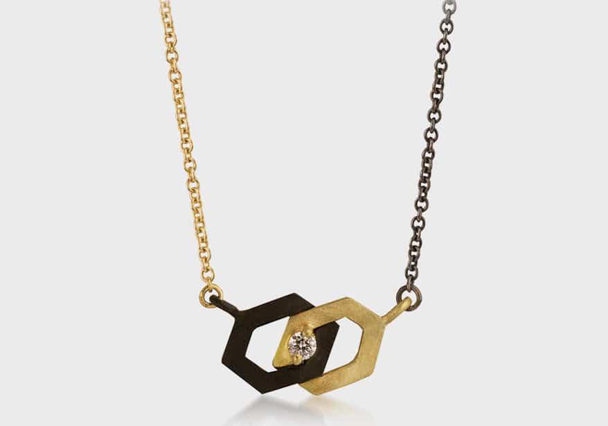 Sarah Graham 18K yellow gold and oxidized cobalt chrome necklace
