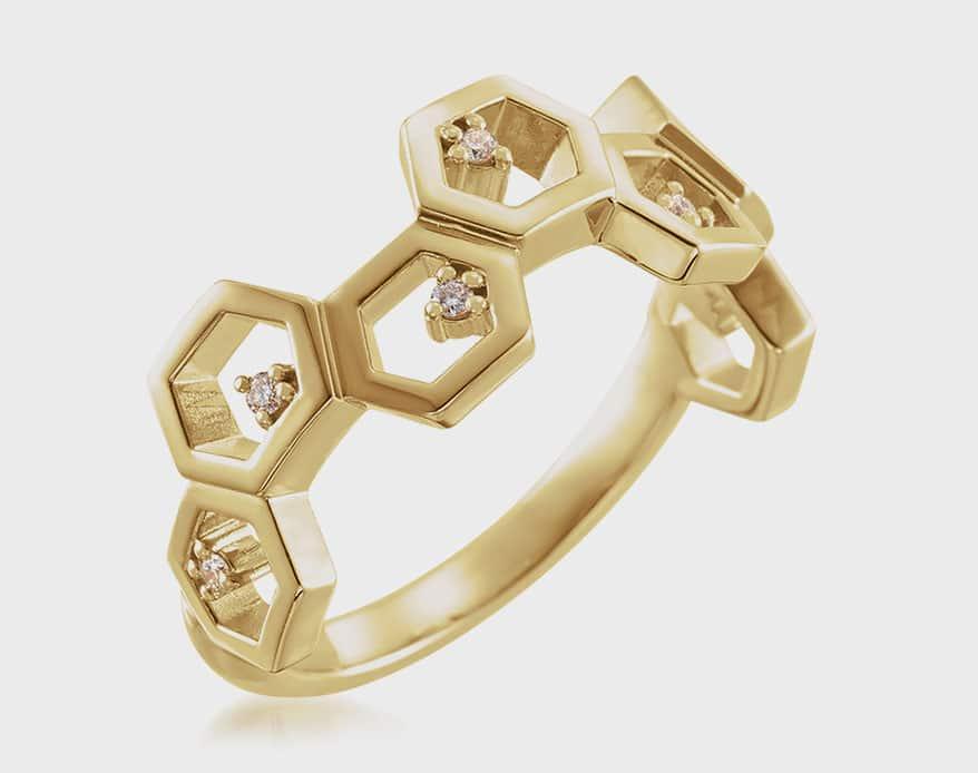 Stuller 14K yellow gold ring with diamonds