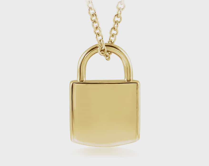 """Stuller's 14K yellow engravable lock necklace on 16-18"""" adjustable cable chain"""