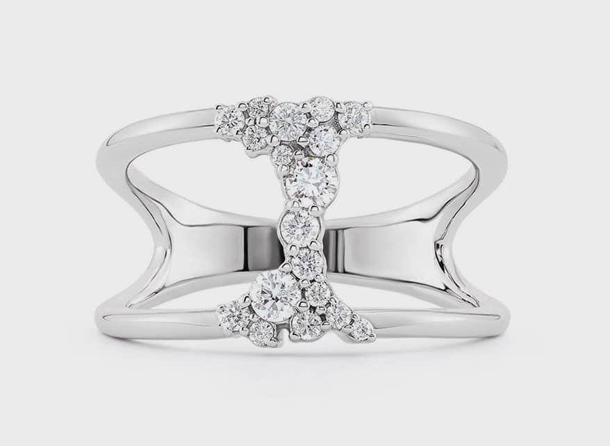 Stuller 14K white gold is Stuller's negative space ring with lab-grown diamond