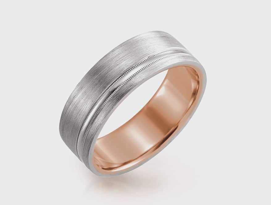 Stuller 14K rose and white gold 7mm comfort-fit band