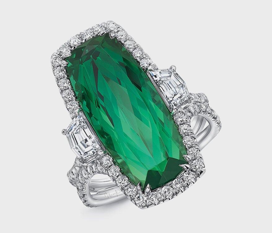 Uneek Jewelry cushion-cut emerald engagement ring