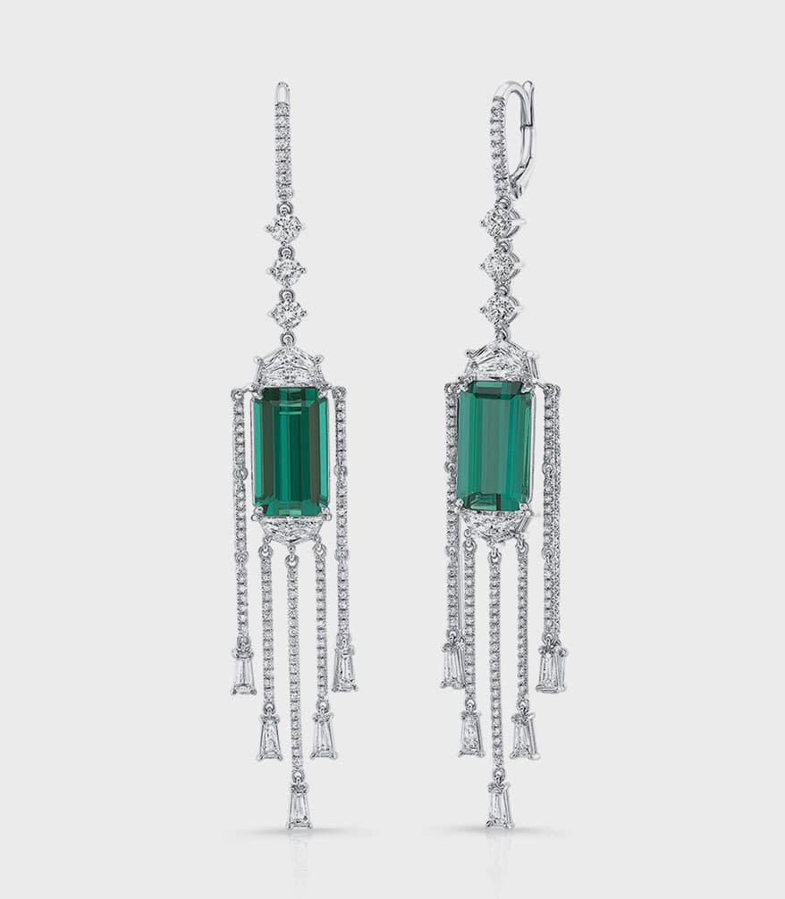 Uneek Jewelry emerald-cut indicolite tourmaline and epaulette diamond earrings