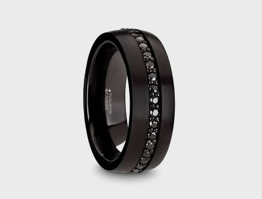 "Thorsten Ring's black tungsten carbide ""Valiant"" ring"