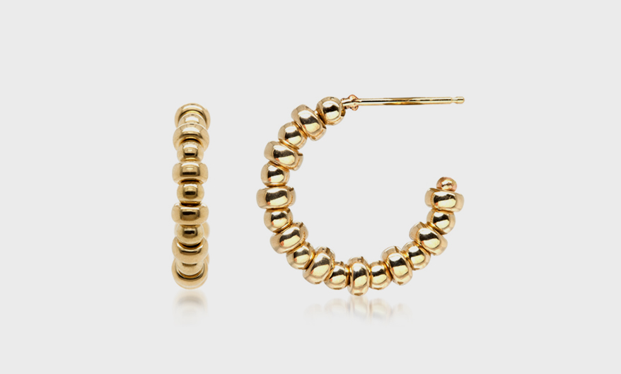 Zoe Chicco 14K small hoops with mixed beads.