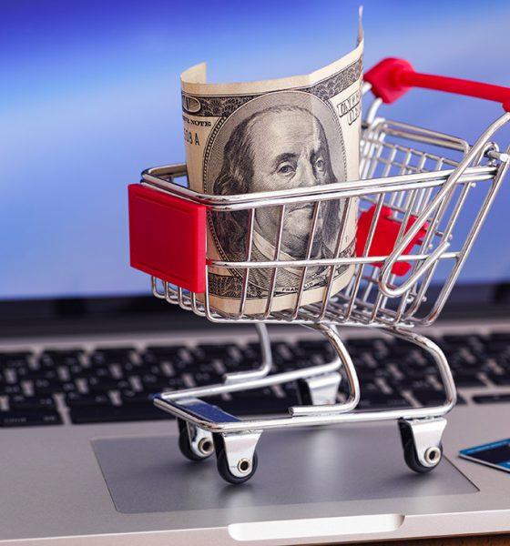 dollar bill in shppoing cart