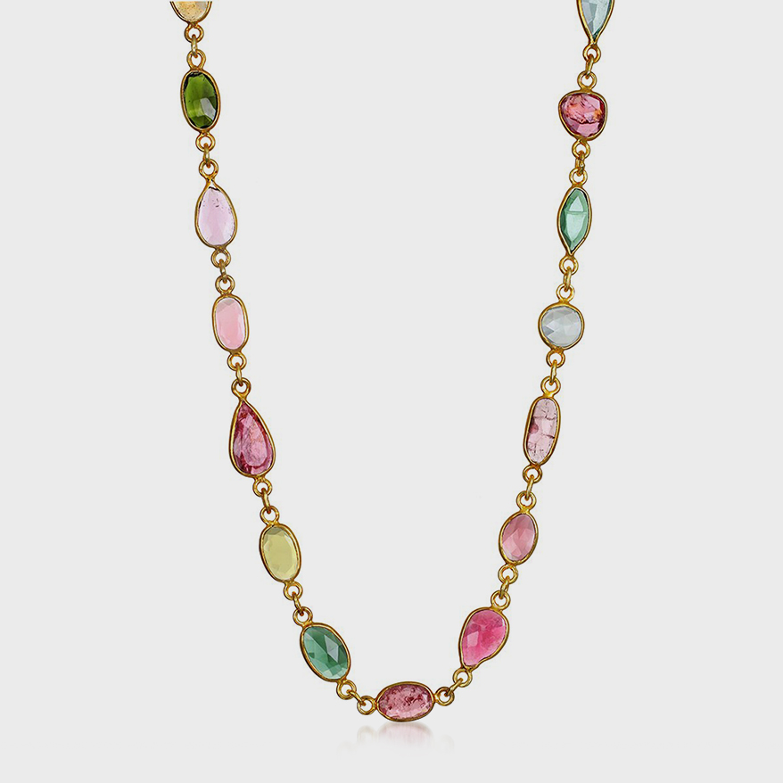 Amelia Rose Design gold vermeil necklace with tourmaline.