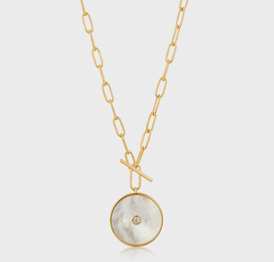 Ania Haie 925 sterling silver necklace with 14K yellow gold plating and mother of pearl.