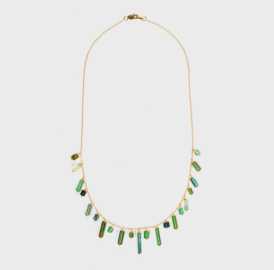 Judi Powers Jewelry 14K green gold necklace with natural tourmaline crystals.
