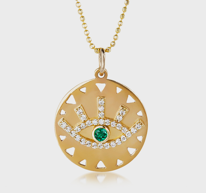 Elizabeth Buenaventura 14K yellow gold pendant necklace with diamonds and emerald