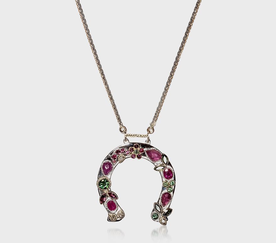 Hania Kuzbari 14K white gold necklace with diamond, sapphire, and tourmaline.