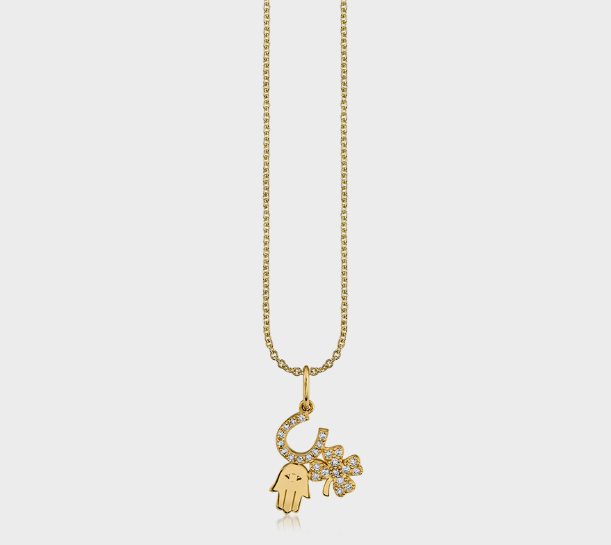 Sydney Evan 14K yellow gold pendant necklace with diamonds.