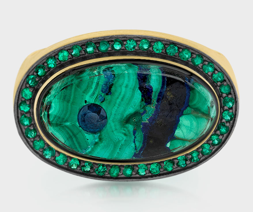 Andrea Fohrman 18K yellow gold ring with malachite, azurite, emerald, and blue sapphire.