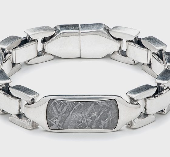 WiIliam Henry Meteorite Identity sterling silver bracelet with centerpiece inlaid with Gibeon meteorite and button lock with sapphire