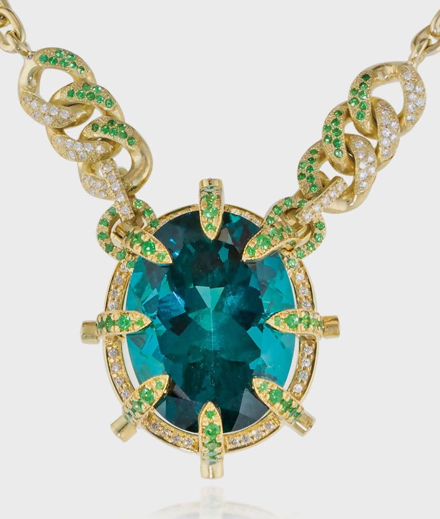 """""""Ode to Notre Dame,"""" an 18k green gold necklace by Brenda Smith"""