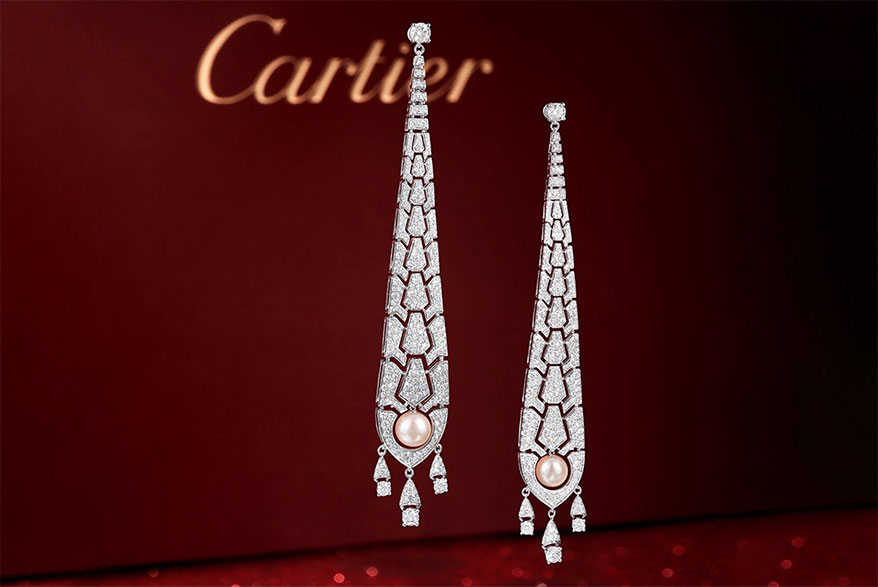 Lot 2098, Cartier Évasions Joaillières Diamond and Cultured Pearl Earrings