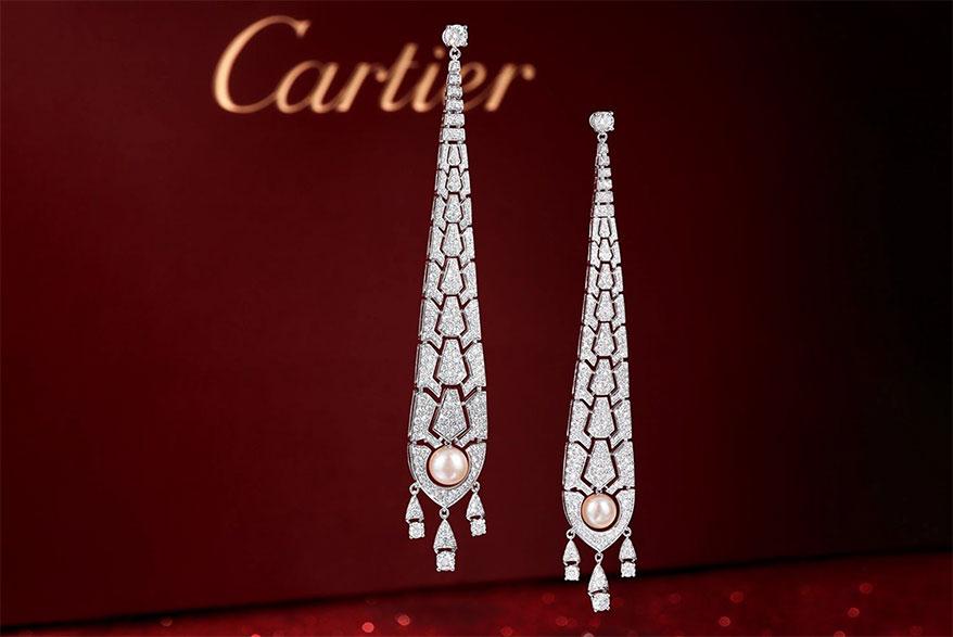Lot 2098, Cartier Évasions Joaillières Diamond and Cultured Pearl Earrings