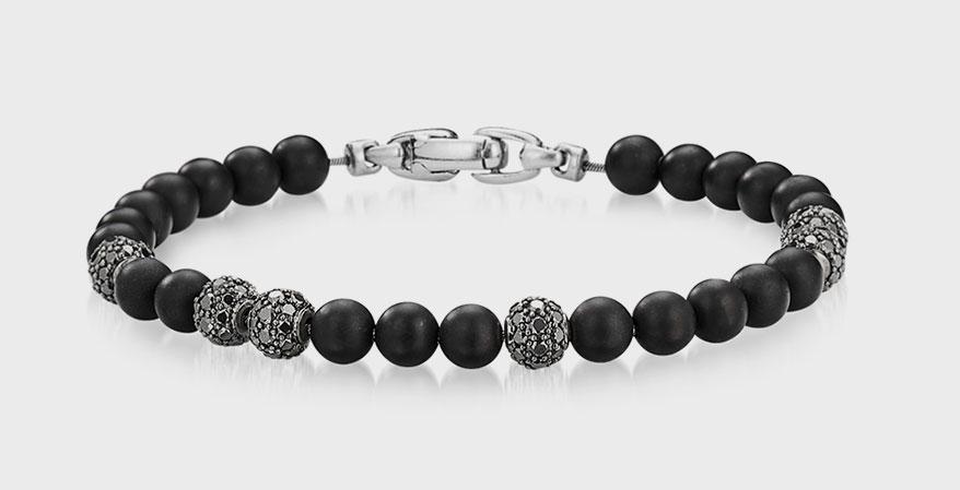 David Yurman spiritual beads bracelet with black onyx and pavé black diamonds