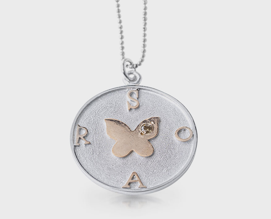 Elizabeth Wasserman Sterling silver pendant necklace with 18K rose gold and diamond