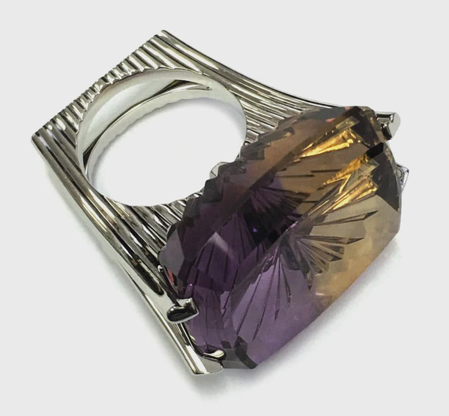 """51 ct. """"Floating"""" Ametrine Solitaire Ring by Frieder Lauer"""