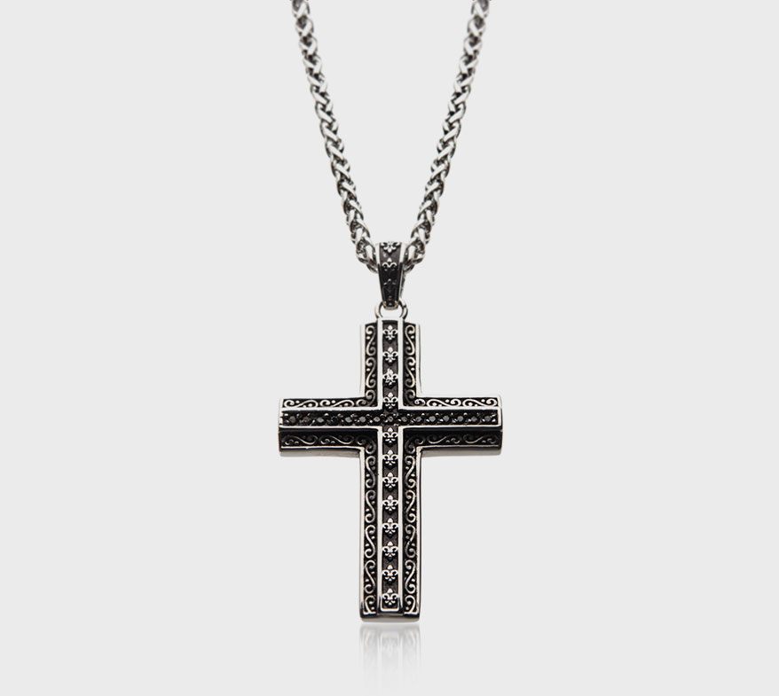 Oxidized steel pendant with black CZ and a steel chain from INOX