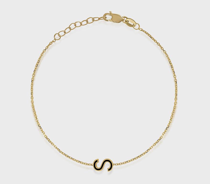 Kelly Bello 14K yellow gold bracelet with enamel.