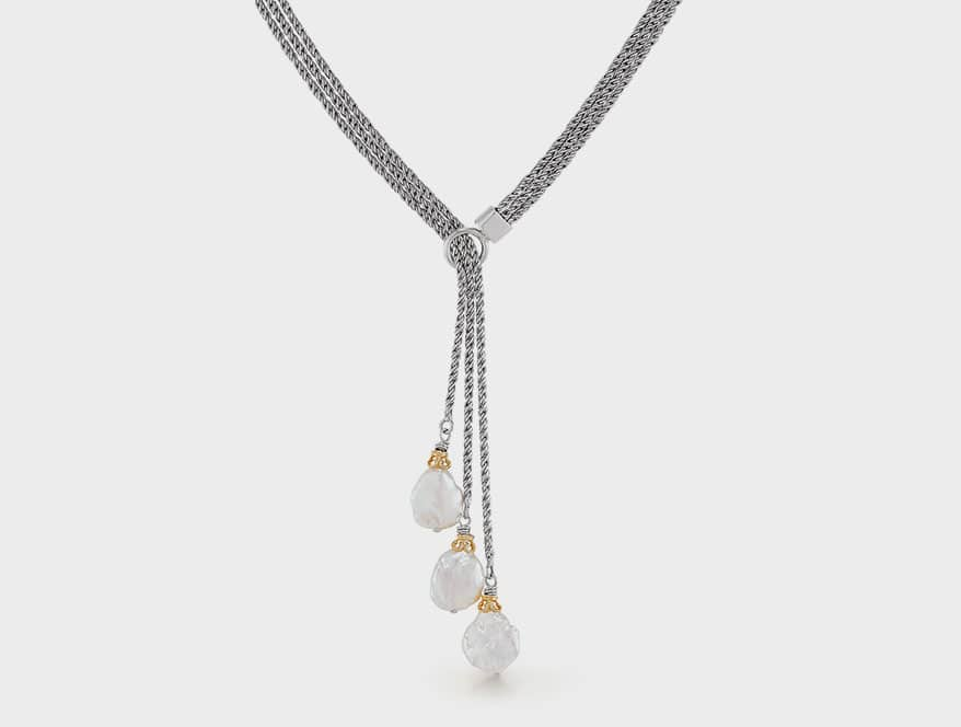 Anatoli Jewelry Sterling silver and 18K yellow gold vermeil lariat with Keshi pearls