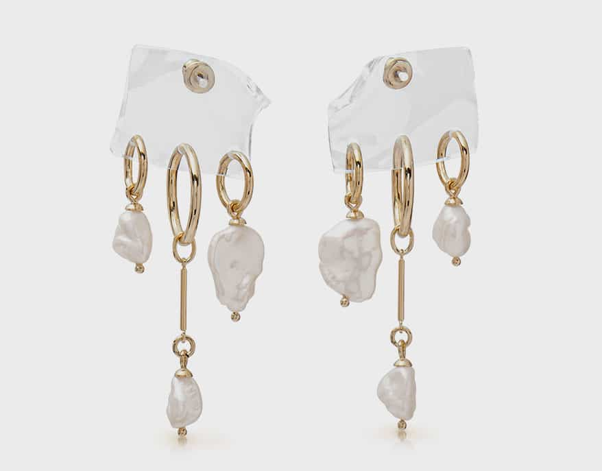 Lady Grey 14K yellow gold-plated bronze earrings with lucite and pearls