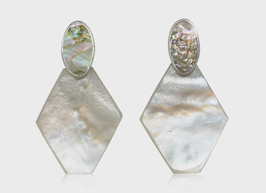 Octave Jewelry Sterling silver earrings with abalone and mother of pearl