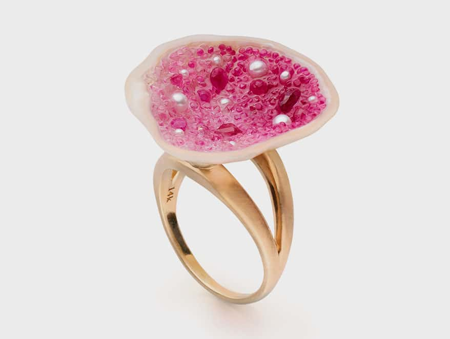 Little H 14K yellow gold ring with freshwater souffle pearl, pink sapphires, rubies, and seed pearls