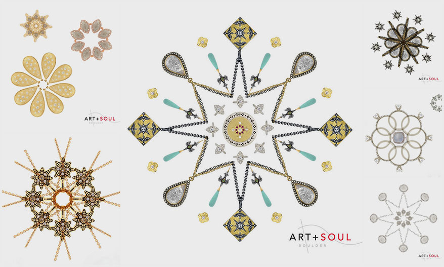 Art + Soul snow flake collages