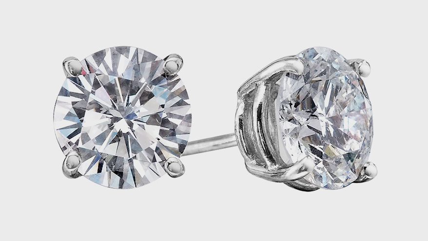 14K white gold earrings with diamonds (1.50 TCW).