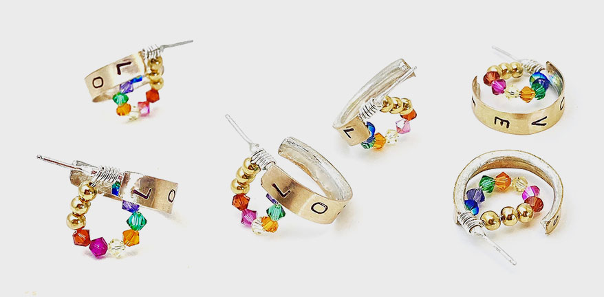 14K yellow gold fill and sterling silver earrings with Swarovski crystal.