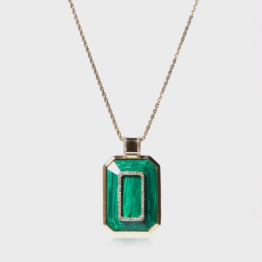 14K yellow gold necklace with malachite and diamonds.