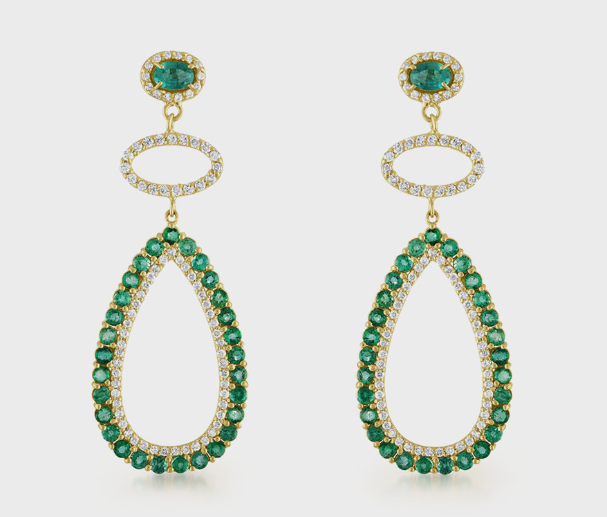 Eden Presley Emerald and diamond open pear-shaped earrings in 14K gold