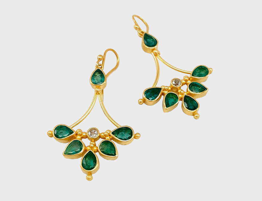 Linda Hoj Emerald earrings with emeralds and rose-cut diamond accents in 22K gold