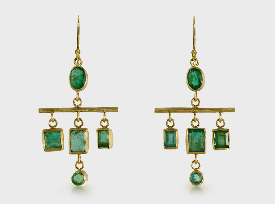 Margery Hirschey Emerald geometric chandeliers in 18K gold