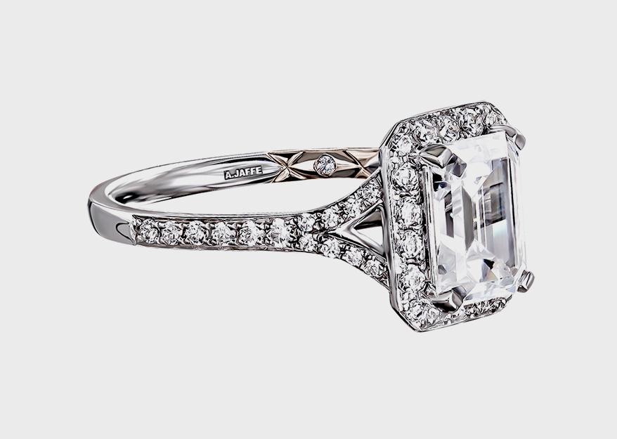 A. JAFFE 18K white gold semi-mount with diamonds
