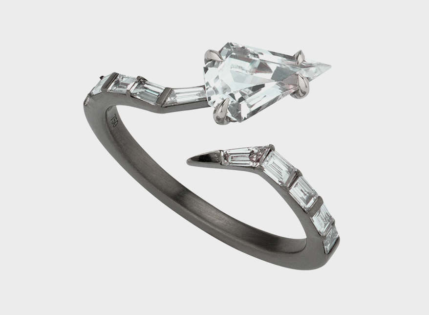 ANAHITA 18K blackened white gold with white topaz and baguette diamonds.
