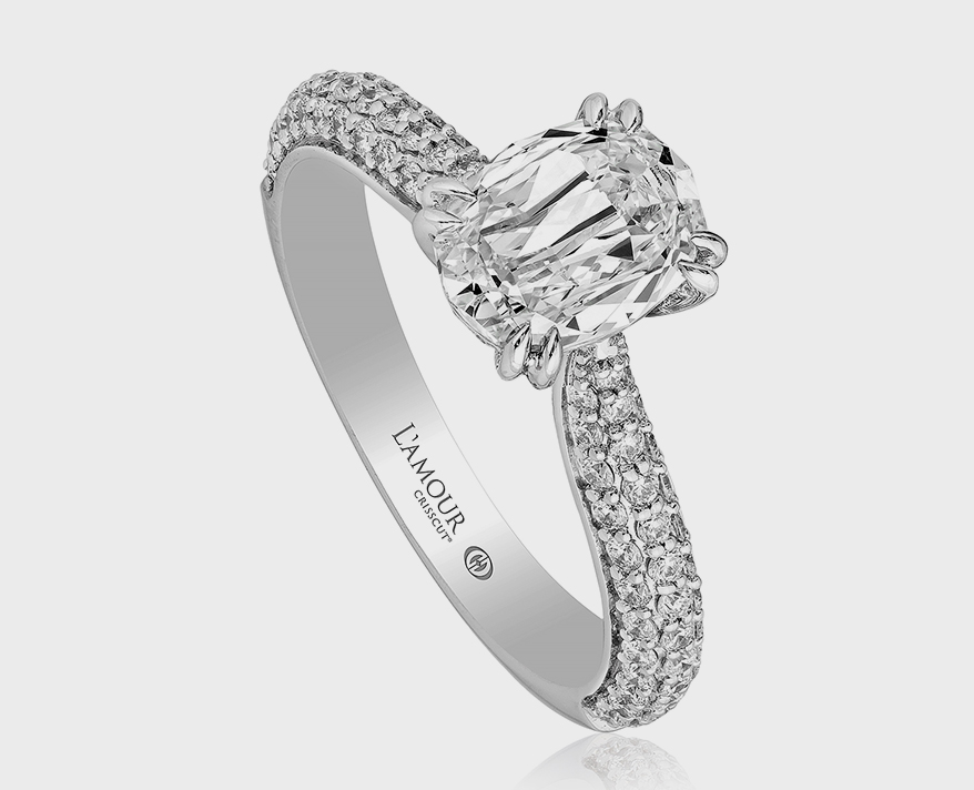 Christopher Designs 18K white gold ring with diamonds and L'Amour Crisscut oval center diamond