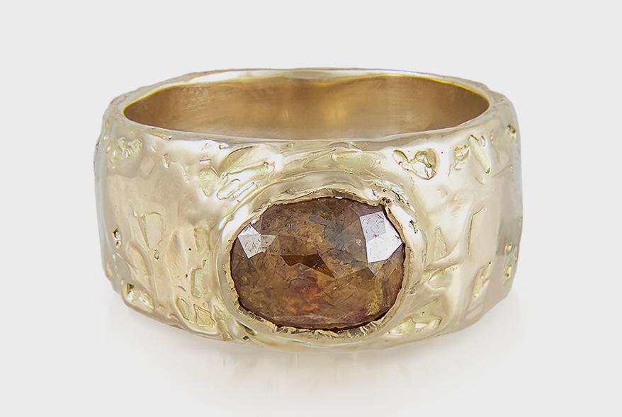 Ellis Mhairi Cameron 14K yellow gold ring with orange diamond.