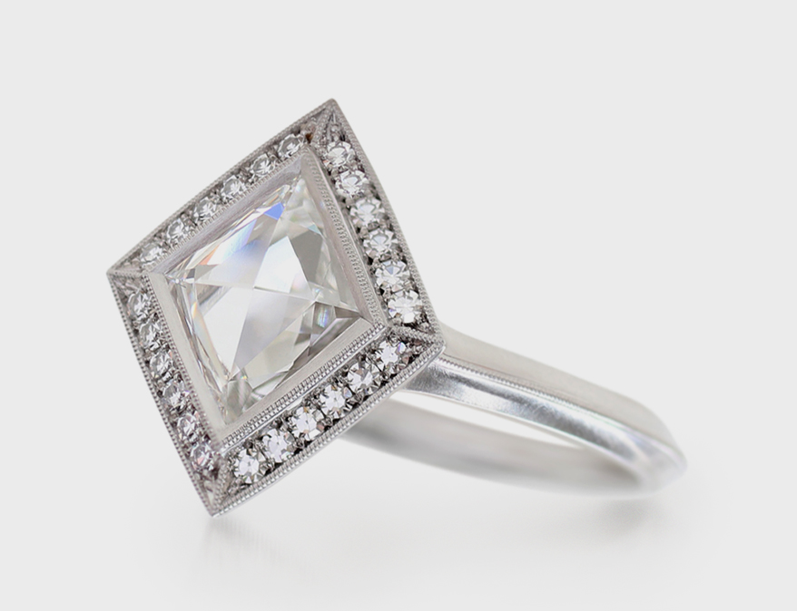 Erika Winters Fine Jewelry Platinum engagement ring with rose cut kite-shaped diamond.