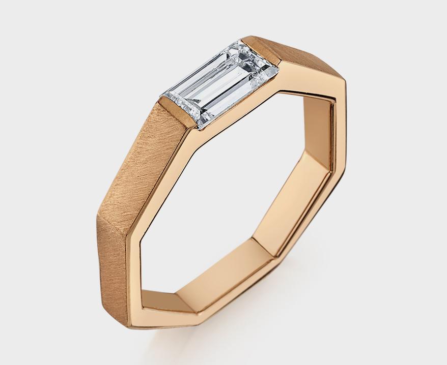 Karma El Khalil Rose gold ring with baguette diamond.