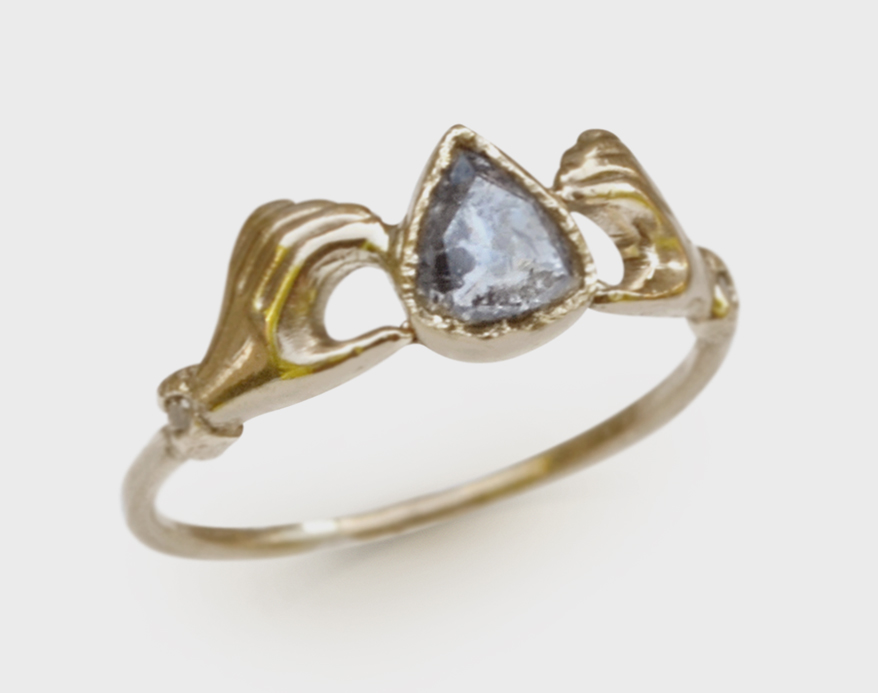 Acanthus 14K yellow gold ring with rose cut pear diamond