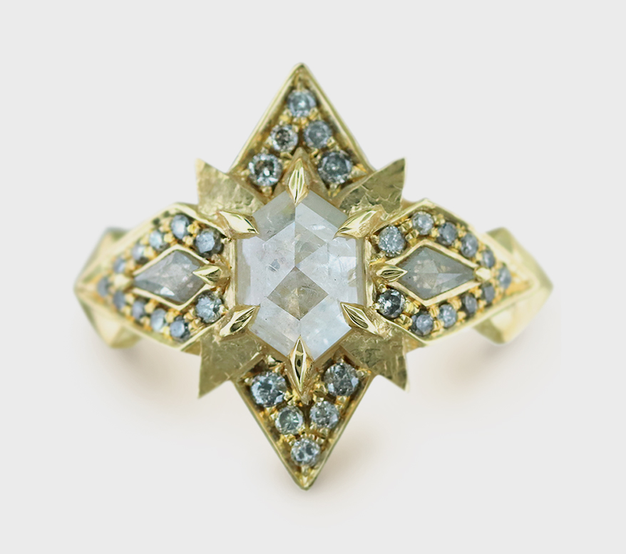 Aimee Kennedy Fine Jewelry 18K yellow gold ring with hexagonal diamond center stone