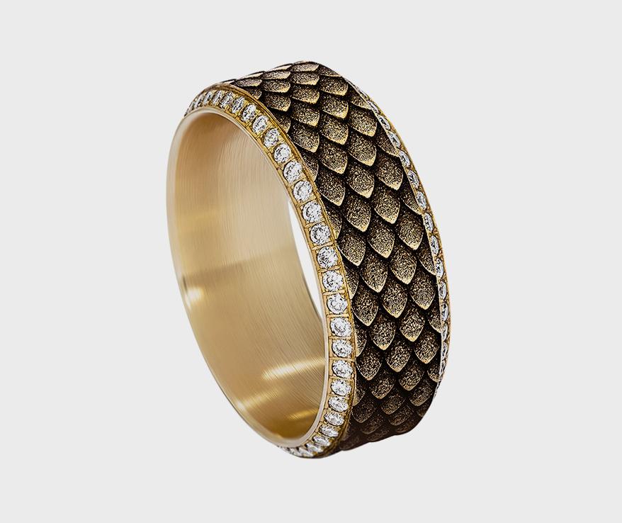 Benchmark 18K yellow gold wedding band with diamonds.