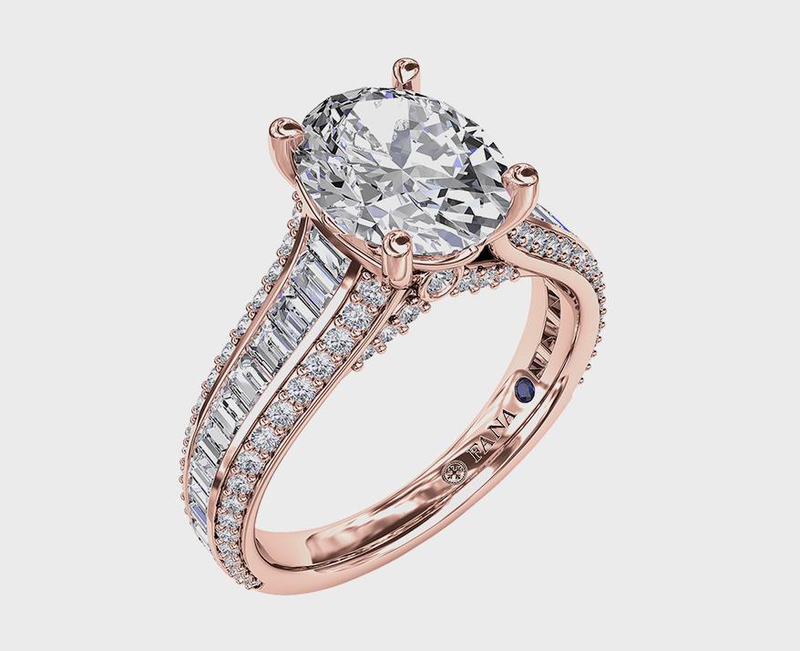 Fana Jewelry 18K rose gold semi-mount with diamonds